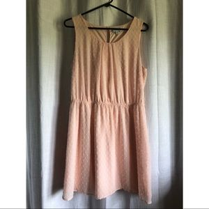 Elle pink dotted dress, size medium.